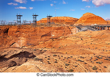 Glen Canyon Dam Electric Power Towers Lines Arizona