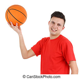Basketball guy - A guy in a red shirt with a basketball,...