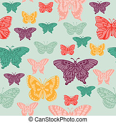 Colorful background with butterflies - for scrapbooking or design in vector