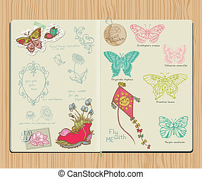 Vector Scrapbook Design Elements - Set of butterflies - hand drawn in notepad