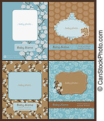 Set of Baby Arrival Cards - with place for your text and photo - in vector