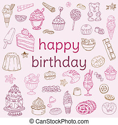 Birthday Card - with hand drawn elements - for Scrapbook, Invitation in vector