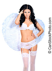 white angel - Portrait of a sexual young woman angel....