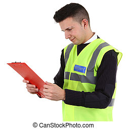 security guard  - A security guard with a red clipboard