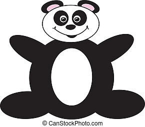 Happy Cartoon Panda Bear - simple drawing of a happy panda...