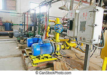 Water pumping station, industrial interiorelectric water...
