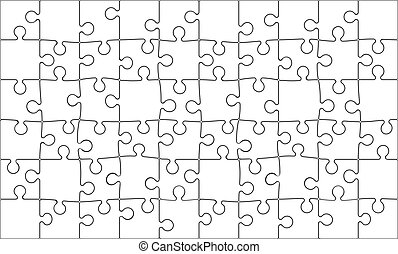 Jigsaw Puzzle - Background Vector Illustration of Blank 60...