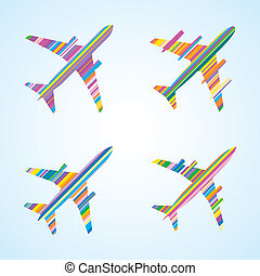 Airplanes - Four Striped Color Vector Commercial Airplanes