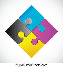 Jigsaw Puzzle - 4 Piece Jigsaw Puzzle each piece is an...