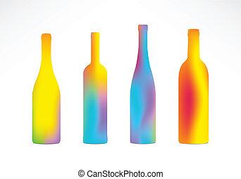 Bottles Color Gradient Silhouettes