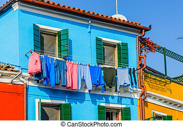 Colorful houses Burano. Italy - Panorama of the colorful...