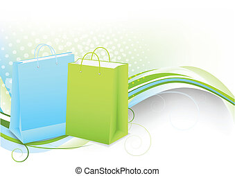 Background with shopping bags - Bright background with...