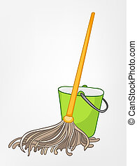 Cartoon Home Miscellaneous Mop Isolated on White Background...