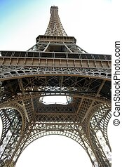 eiffel tower in paris at day - Eiffel Tower in Paris against...