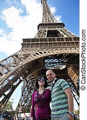paris trip - tourist people in france paris with eiffel...