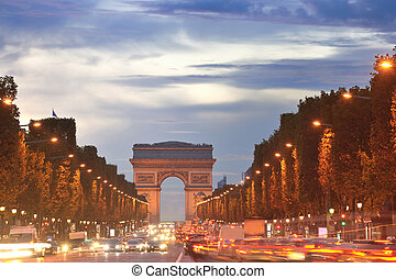 Arc de Triomphe, Paris, France - Beautiful night view with...