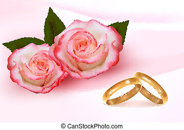 Gold wedding rings in front of three pink roses  Vector