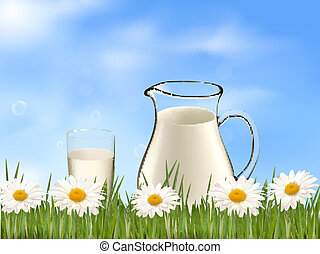 Glass of milk and jar