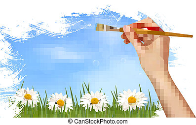 Nature background with hand