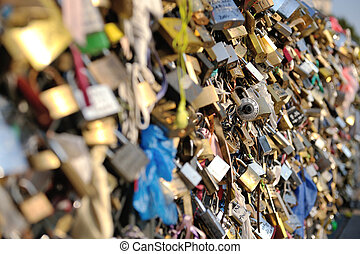 Love locks in Paris representing secure friendship and...