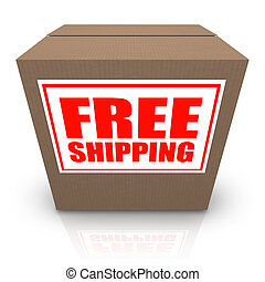 Free Shipping Brown Cardboard Box Order Shipment - A brown...