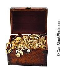 Treasure chest snake - Treasure chest with snake golden...