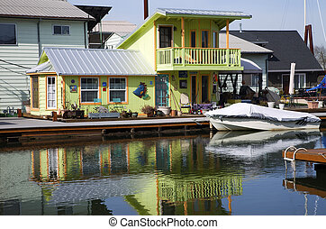 A decorated floating house, Portland OR.