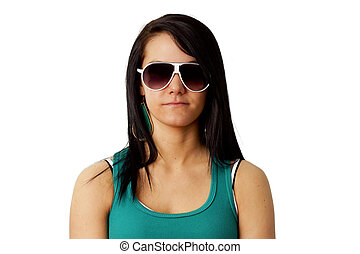 Young woman with big sunglasses