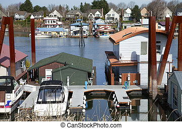 A community on the river and land, Portland OR. - A large...