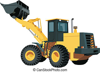 Excavator - yellow excavating machine