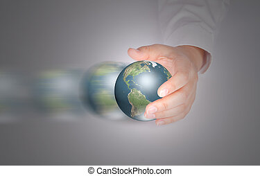 Business hand hold moving Earth