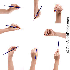 Collection of pencil in a hand isolated on a white...