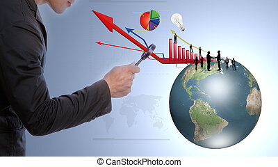 Business man look earth and business graph under a...