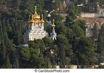 The Church of Mary Magdalene - Golden domes of the Church of...