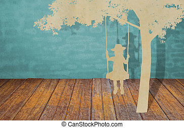 Paper cut of children on swing under tree