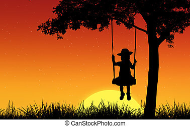 Silhouette of girl on swing