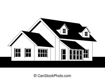 Home  - An illustration of home icon in black and white