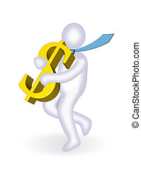 Man carrying dollar - An illustration of man carrying 3d...