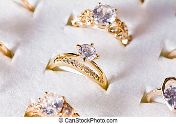 Golden ring and diamond