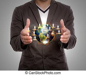 Terra, presa, affari, uomo