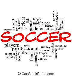 Soccer Word Cloud Concept in red scribbles with great terms...
