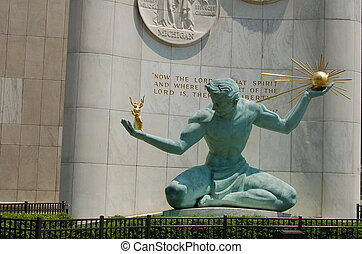 Spirit of Detroit statue in downtown Detroit