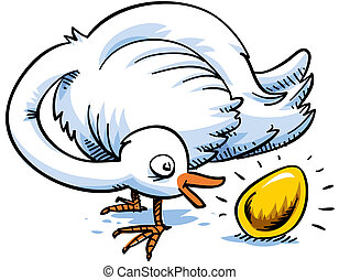 Gold Egg - A cartoon bird is surprised to find that it has...