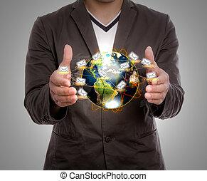affari, uomo, presa, Terra, posta