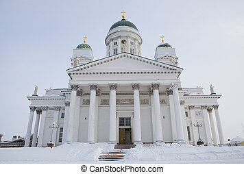 Helsinki cathedral Tuomiokirkko on a cold winter day
