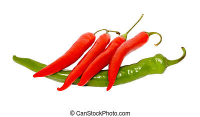 red pepper chile on green pepper isolated on white...