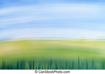 Spring field concept, watercolor design with stylized as...