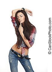 portrait of beautiful fashion sexy brunette girl in jeans...