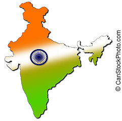 indian map with tricolour