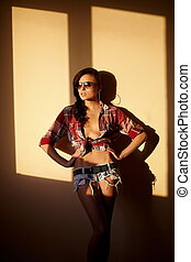 portrait of beautiful fashion sexy brunette girl in jeans and colorful shirt in glasses behind sunset indoors